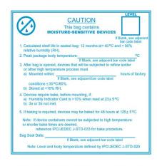 Samolepící etikety - Upozornění na ochranné sáčky proti vlhkosti